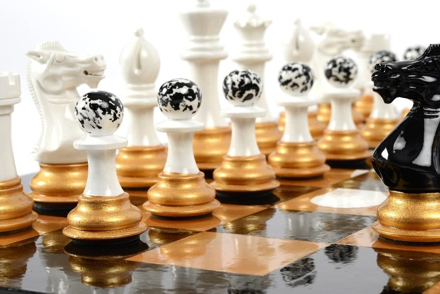 Darren-John-hand-painted-chess-set-Black-Knight